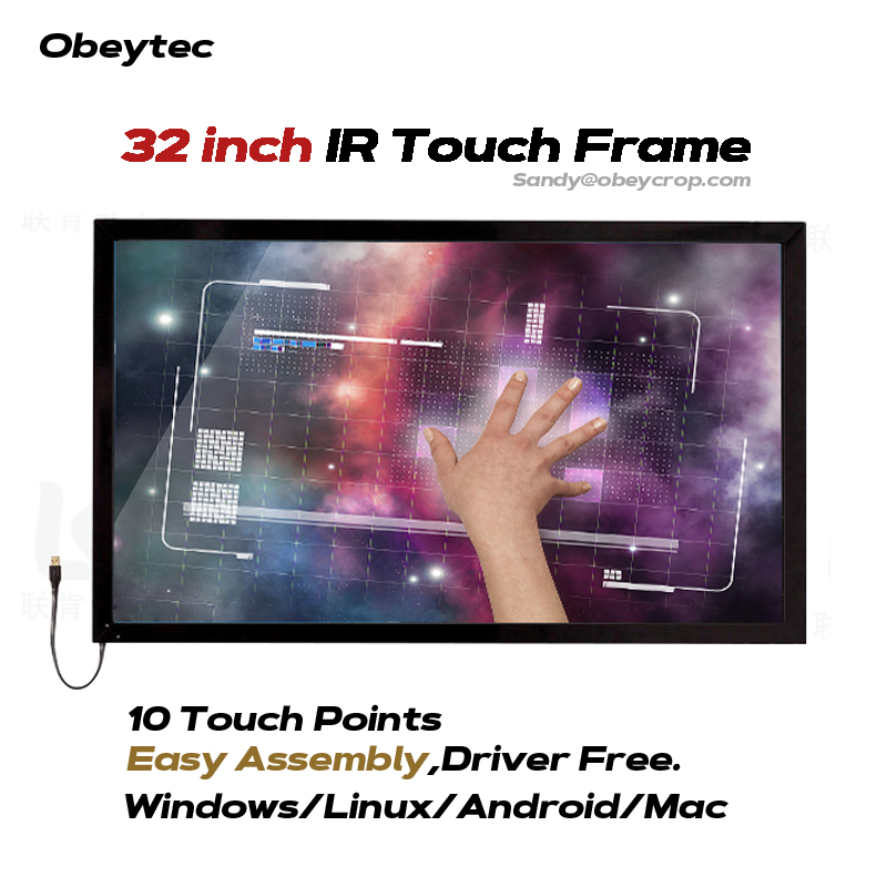 32 IR Touch Screen Frame 10 Touch Points, Fast Response, Easy Assembly,High Compatiblity new type 14 inch 16 9 infrared ir touch screen ir touch frame overlay 2 touch points plug and works multi points