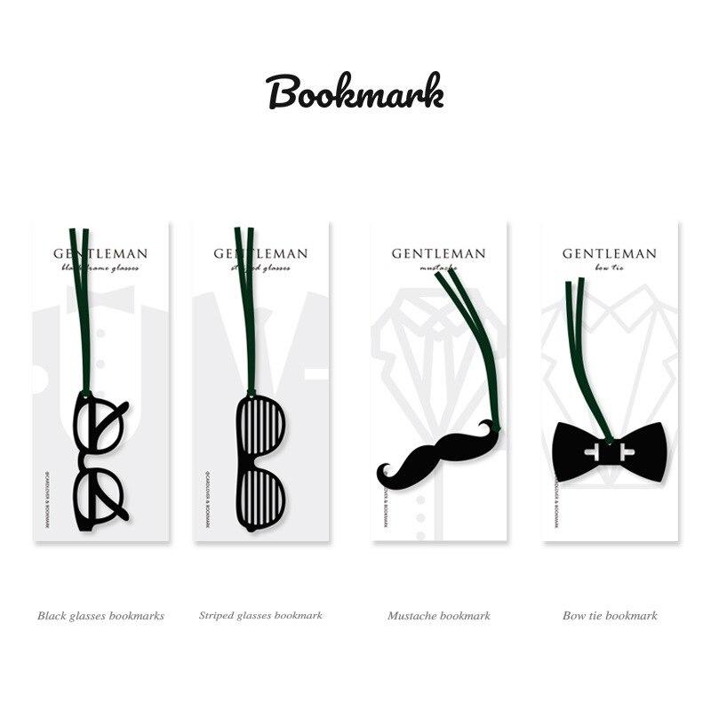 24 Pcs Gentleman Bookmark For Book Black Glasses Mustache Bow Tie Bookmarks Office School Supplies Marcadores De Pagina F767