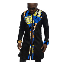 African print mens shirts fashion man dress shirt male dashiki ankara cotton and wax patchwork long