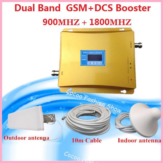 Conjunto completo gsm dcs dual band sinal móvel impulsionador 900/1800 mhz sinal de celular repetidor de sinal de telefone celular impulsionador amplificador + antena