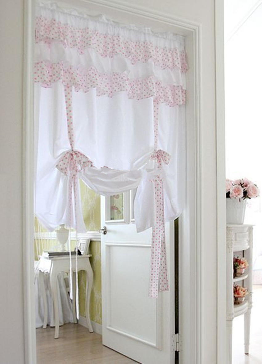 Light pink curtains - 1 Panel 150 150cm Korean Style White With Pink Point Lace Cotton Curtain The Finished
