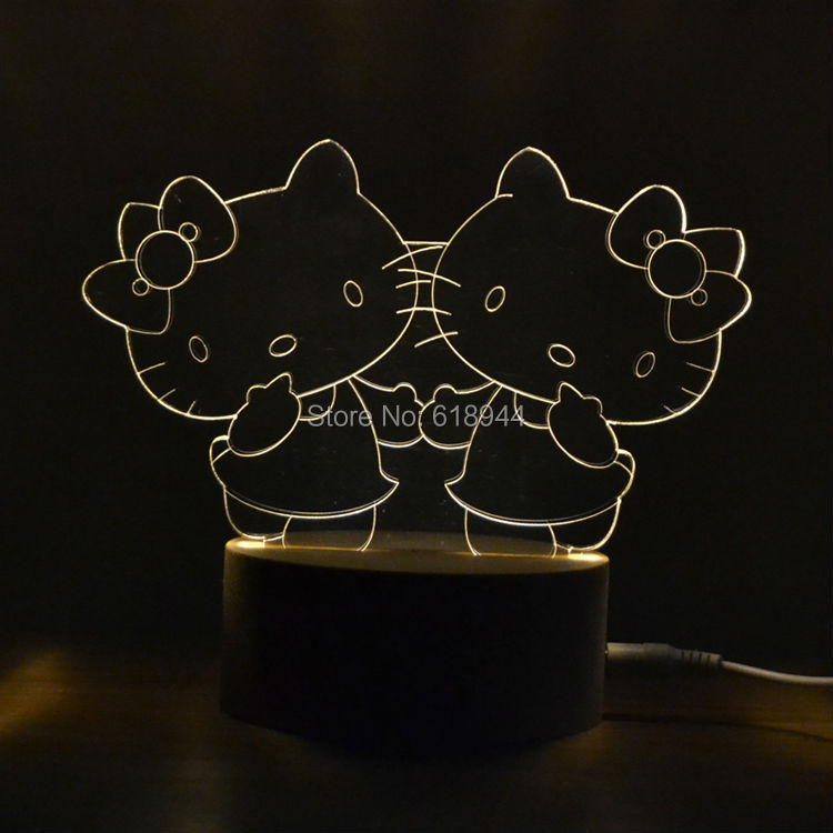 2016 Hot Selling Wooden Modern LED Desk Lamp Creative Fashion Bedroom Bedside Night Light Birthday Gift Hello Kitty 3d happy birthday led night light remote control or touch switch 7 color changing bedside lamp decor birthday gift iy803345 4