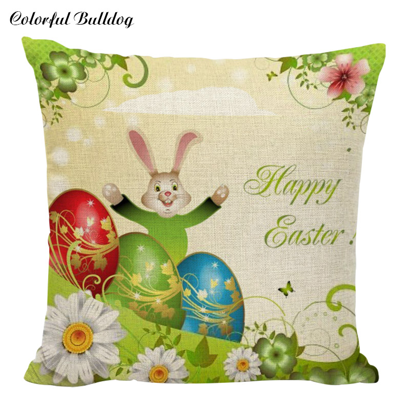 Raz 18 Colorful Bunny Easter Pillow: Cotton Polyester Square Rabbit Printed Pillow Cases With