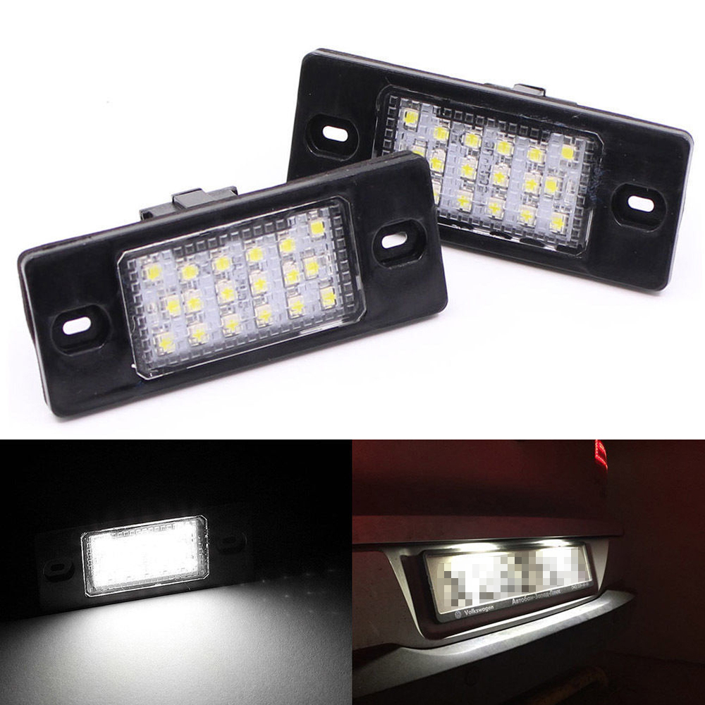MALUOKASA 2Pcs Car LED Number License Plate Light No Error For Porsche Cayenne 955 957 VW Touareg Passat Tiguan JETTA Golf