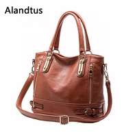 Alandtus Brand Women Shoulder Bag Genuine Leather Handbags Casual Female Tote Bag Fashion Messenger Bags For Girl Crossbody Bags