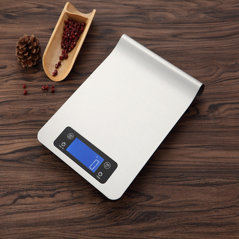 5kg 1g Stainless Steel LCD Digital Kitchen Scale Large Touch Electronic Food Diet Weight Scales Timer Temperature Reminder