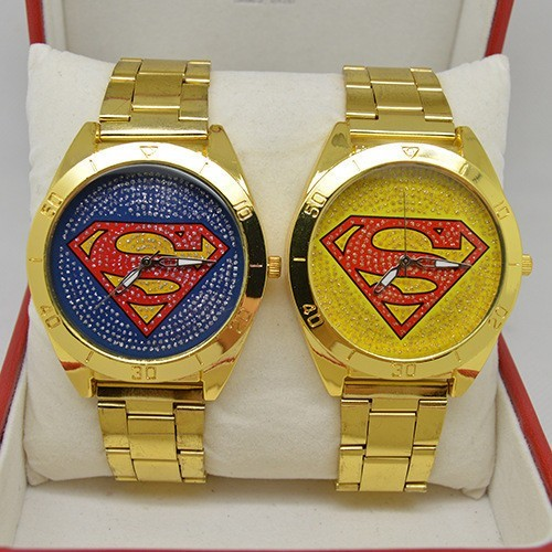 Free shipping 2016 new fashion European and American hip-hop superman watch unis