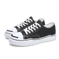 Deformation Bottom Open Smile Shoes 2019 Korean Version of Trend Canvas Shoes Students Small Black Shoes Skateboarding Shoes