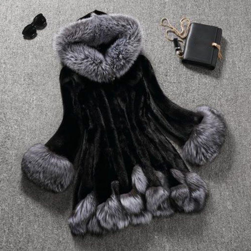 Высокая искусственный мех пальто женщин Silver Fox меховой воротник с капюшоном из меха норки искусственного меха пальто средней длины пальто
