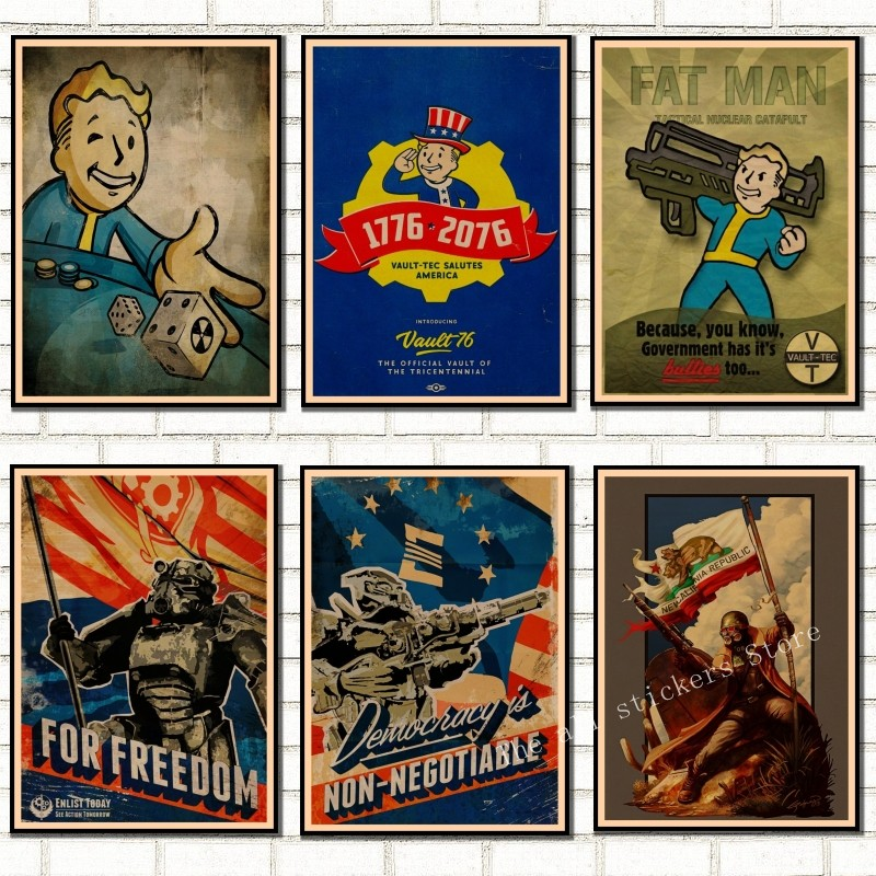 Fallout 3 4 Game Poster Fallout Series Game retro Poster Retro Kraft Paper Bar Cafe Home Decor Painting Wall Sticker /9005 image