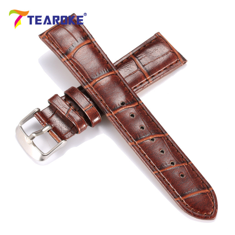 TEAROKE Crocodile Pattern Leather Watchband 20mm 22mm Men Women Watch Strap Clock Watch Accessories High Quality Brown Black crocodile skin pattern cow leather wristwatch strap watchband black size 20l