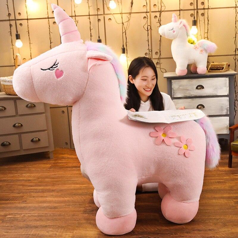 90/130cm Jumbo rose blanc licorne Peluche jouet géant licorne Peluche Animal cheval Unicornio Peluche poupée cadeau enfants Photo accessoires - 3