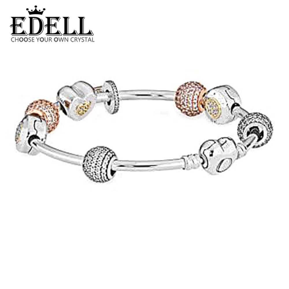 EDELL 2017 The new 100% 925 Sterling Silver Bangles & original Bracelet For Women With Charm Beads Luxury Original Jewelry Gift edell 100% 925 sterling silver new charm cute cow beaded exquisite lucky women gift original jewelry factory direct sales 797609