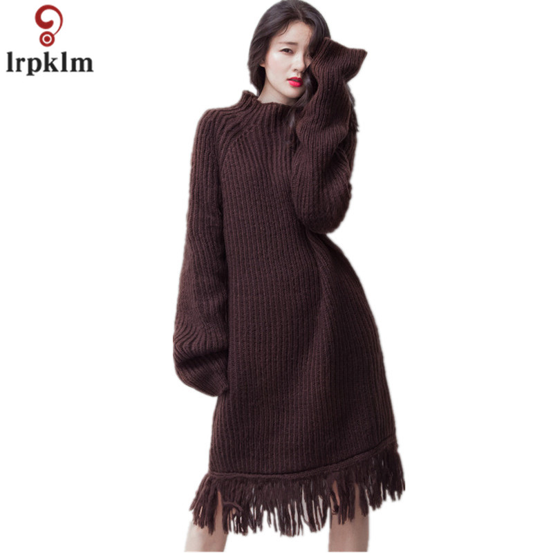 2017 New Winter Knitted Dress Fashion font b Women b font Casual Long Sleeve Turtleneck Loose