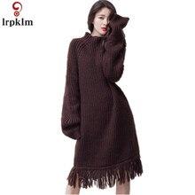 2017 New Winter Knitted Dress Fashion Women Casual Long Sleeve Turtleneck Loose Knitting Tassel Sweater Dresses Vestidos YY173