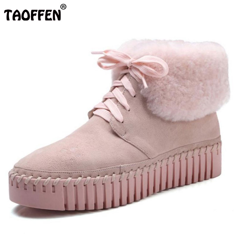 TAOFFEN Ladies  Real Leather Ankle Boots Female Thick Platform Lace Up Shoes Woemn Winter Leisure Warm Fur Snow Boots Size 34-39 new winter baby hat real fur pom pom knitted toddler kid thick warm double raccoon fur balls beanies boys girls bonnet gorros f3
