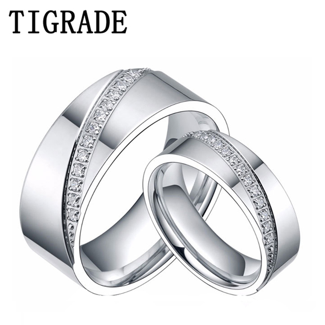 dcb04c4fcb 6mm&8mm Titanium Ring Men Women CZ Inlay Promise Jewelry Eternity Couple  Rings Matching Set Wedding Band Valentines Day Gift