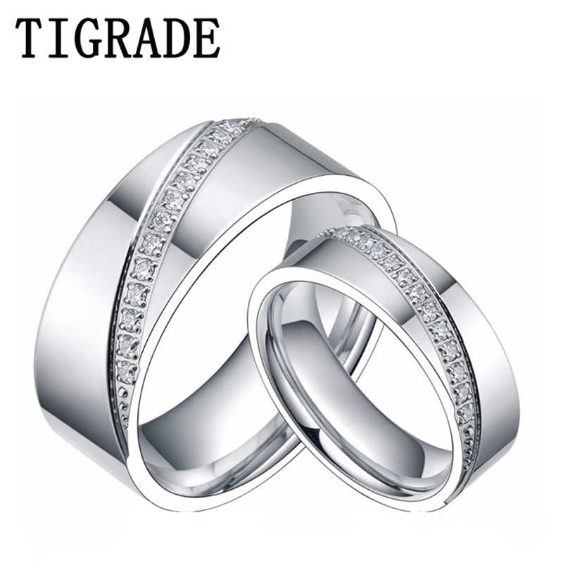 2998aff70567cd 6mm&8mm Titanium Ring Men Women CZ Inlay Promise Jewelry Eternity Couple Rings  Matching Set Wedding Band