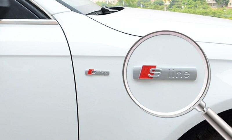 3D Metal Sline S line Fender Emblem Decal Sticker Badge Car Styling For Audi A1 A3 A4 A5 A6 A7 A8 Q3 Q5 Q7 S3 S4 S5 S6 S7 S8 TT