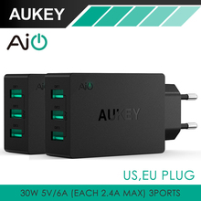 AUKEY 30W 3 Ports Universal USB Wall Charger Portable Wall Travel Charger Multi USB Ports Adapter for iPhone Tablet iPad & More