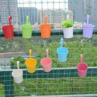 10pcs Metal Bucket Flower Hanging Pot Balcony Garden Pots Plant Flower Holders Wall Hanging Metal Bucket Flower Holder with Nail