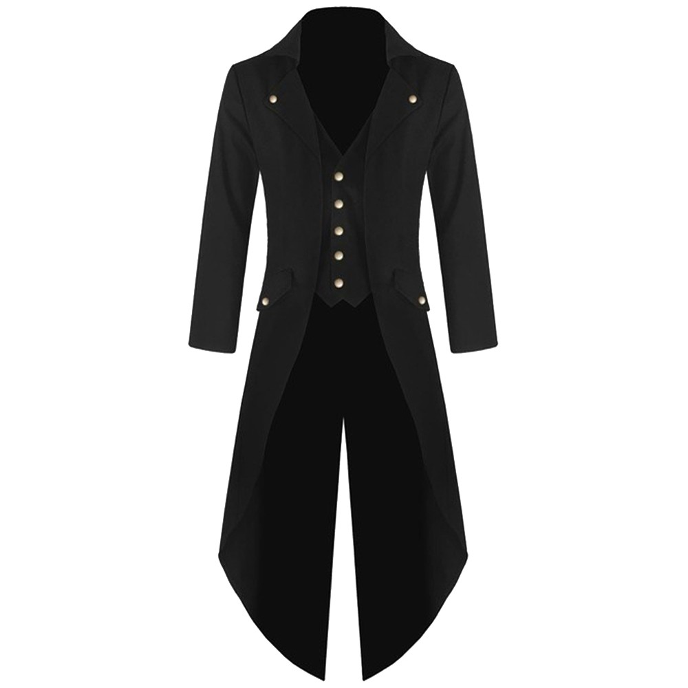Adult Victorian Costume Black Tuxedo Tailcoat Gothic Steampunk Trench Coat Frock