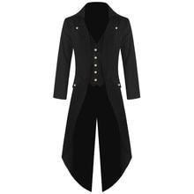 Взрослый мужской костюм в викторианском стиле, черный смокинг, модный фрак, готический Тренч в стиле стимпанк, наряд, пальто, униформа для мужчин