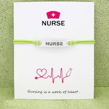 Medical Nurse Hat OT LPN EMT Antique Silver Charm Card Bracelets Lime Green Blue Mint Red Women Men Jewelry Gift Custom