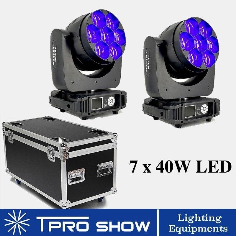 2 pièces 7x40 W faisceau de tête Mobile lumière abeille oeil LED Lyre Zoom lavage tête Mobile Disco lumière professionnelle DJ 2in1 étui de vol pour Club