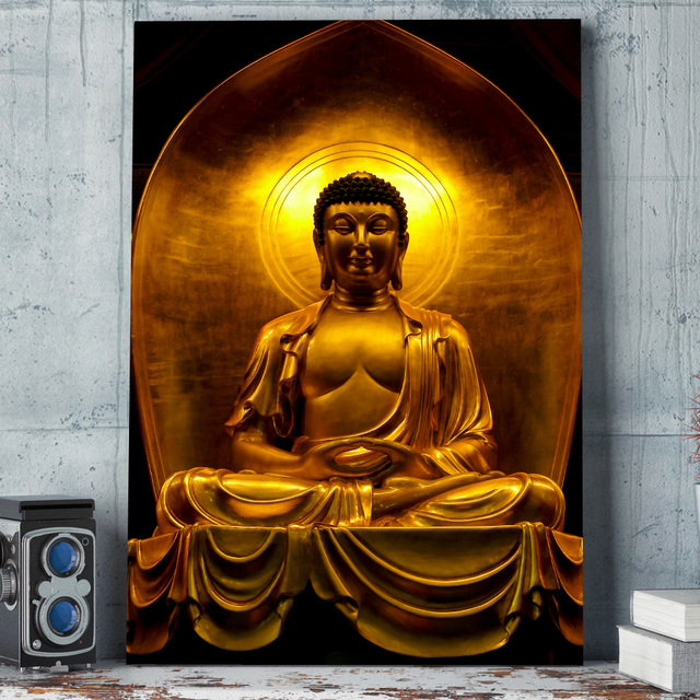 aliexpress com buy 1 pcs framed hd printed golden buddha statue