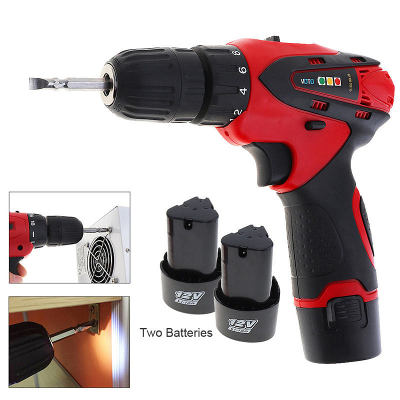 2 Speed 12V Cordless Powerful Electric Screwdriver Torque Electric Drill Power Tools Rechargeable Lithium Battery Screwdriver