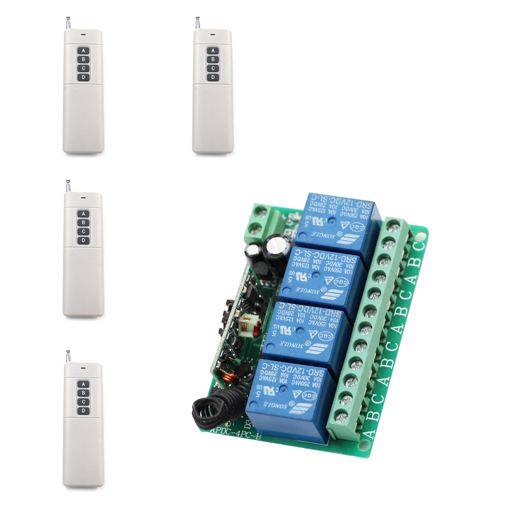 DC12V 4CH Relay Receiver 4pcs Transmitter RF Remote Control Switch Wireless Controller For Long Distance Electronic Applications dc12v 4ch wireless receiver