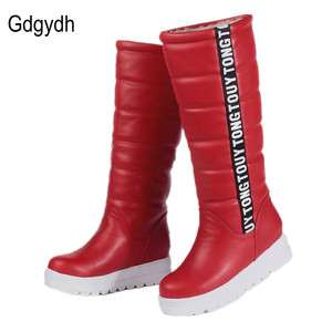 Image 1 - Gdgydh Winter Women Shoes Knee high Boots Female Elevator Flat Thermal Velvet Snow Boots Platform Cotton padded Shoes Size 34 43
