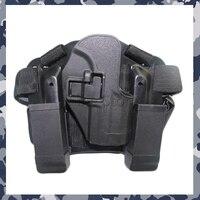 Nova Ajustável Quick Release Tactical Puttee Coxa Perna Pistola Coldre Bolsa para HK USP-Preto