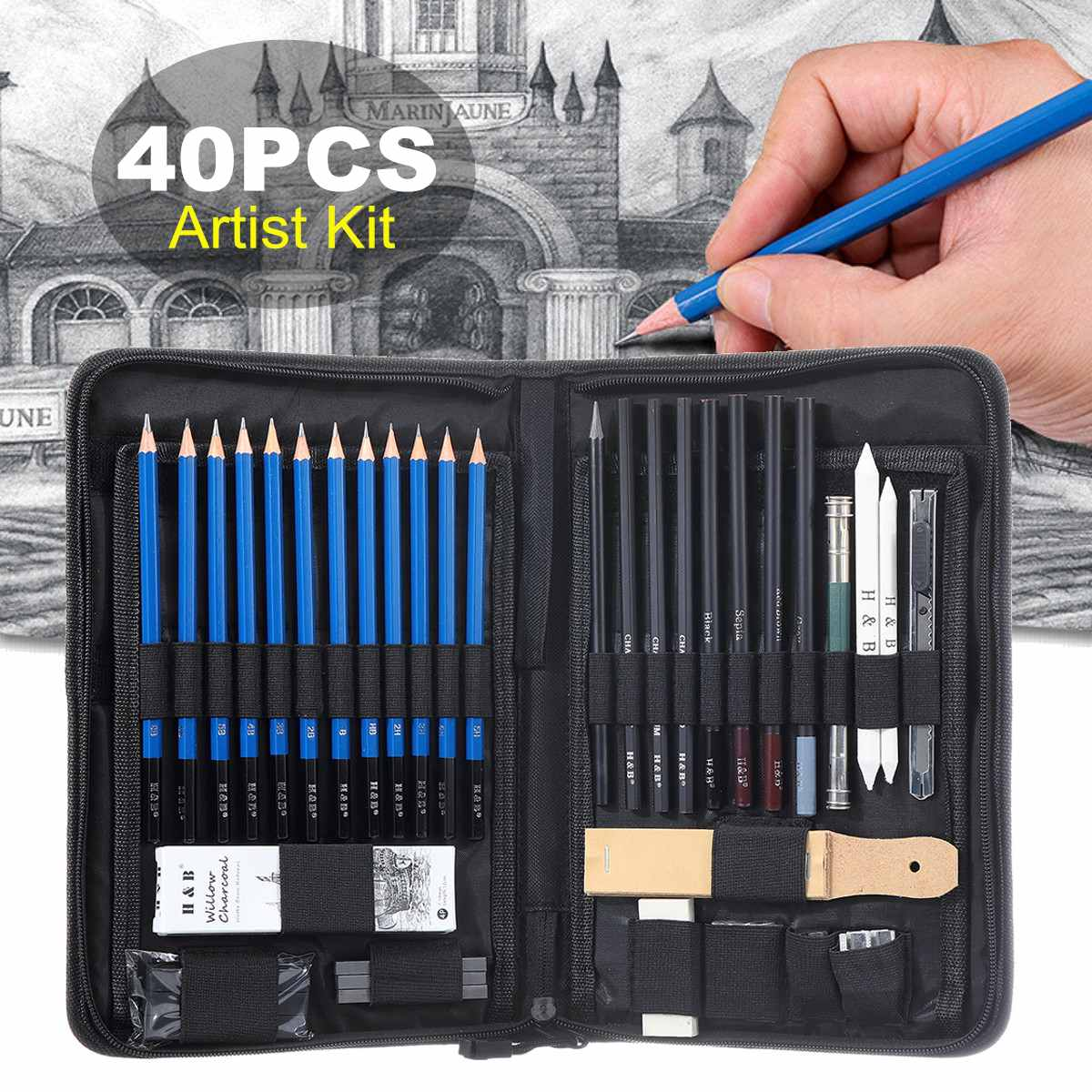 40Pcs Professional Drawing Pencils Artist Kit Sketch Charcoal Pencils Art Tools Stationery Bag Office School Painting Supplies40Pcs Professional Drawing Pencils Artist Kit Sketch Charcoal Pencils Art Tools Stationery Bag Office School Painting Supplies