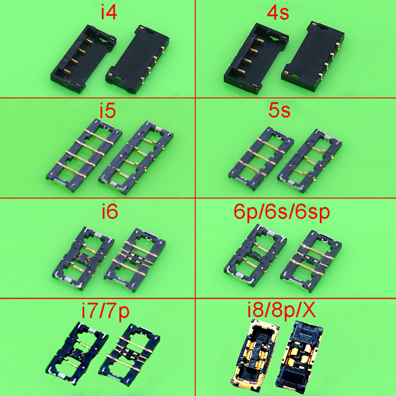 Genuine Battery Connector Socket For Iphone 4 4s 5 5s 6 7 8 Plus X Inner Connector Panel Battery Holder Clip Mianboard Repair