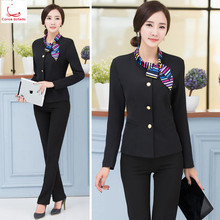 Hotel staff uniforms autumn and winter dining reception cashier beautician manager foreman career suit long sleeves