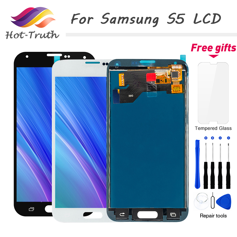 2Pcs/Lot For Samsung <font><b>S5</b></font> LCD i9600 <font><b>G900</b></font> G900F Screen For <font><b>Galaxy</b></font> <font><b>S5</b></font> <font><b>Display</b></font> Touch Screen Digitizer Assembly G900M G900H <font><b>SM</b></font>-G900F image