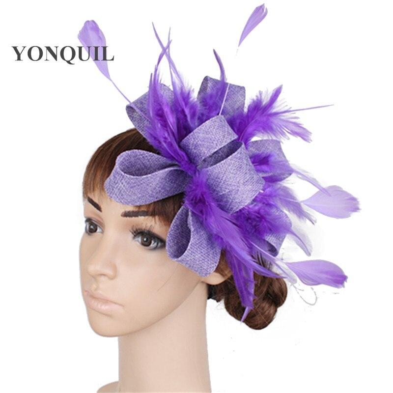 White red black imitation sinamay fascinators headpiece decoration with feather accessories women wedding headbands ladies SYF64 headpiece