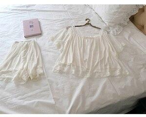 Image 5 - נשים של לוליטה נסיכת פיג מה סטים לפרוע חולצות + מכנסיים קצרים. בציר גברת ילדה של תחרה רשת פיג סט. ויקטוריאני הלבשת Loungewear