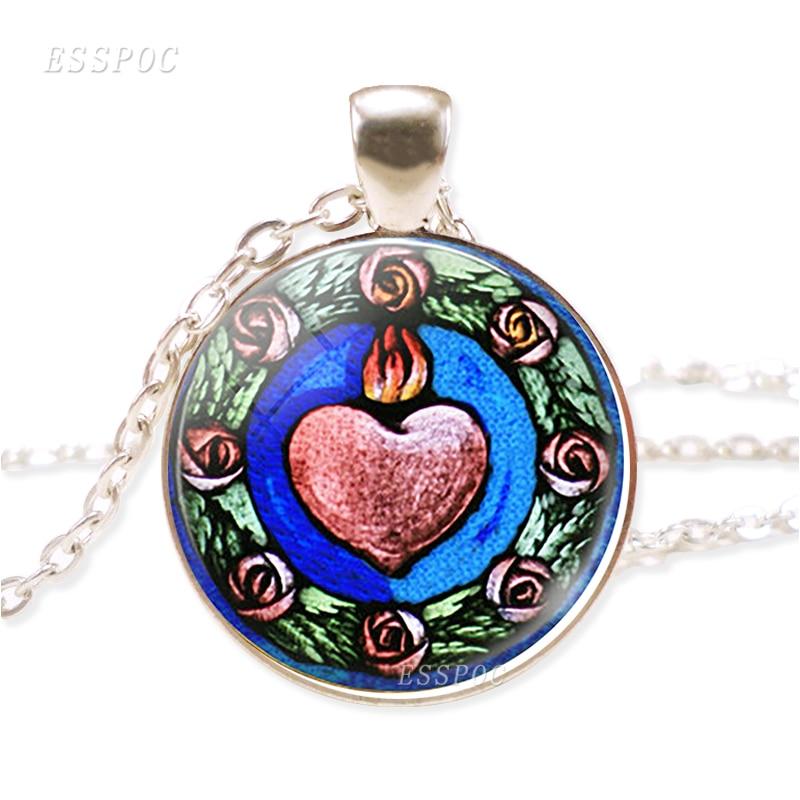 Витражное ожерелье в виде Святого Сердца, христианские религиозные украшения, ручная работа, стеклянный кабошон, подвеска, свитер, цепочка, ожерелье для женщин