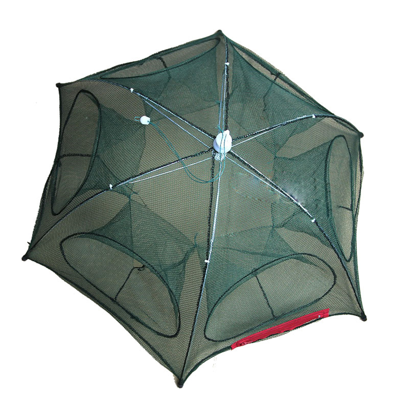 Folded Portable Hexagon 6 Hole Automatic Trap Fishing Net Fish Shrimp Minnow Crab Baits Cast Mesh Trap #4MY10 (4)