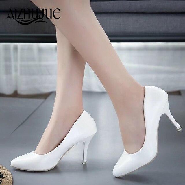Размер 34-45 женские туфли-лодочки 2018 Новая мода Sexy Пром Вечерние обувь классические белый черный розовый светло-зеленый Lo офисный Обувь на высоком каблуке