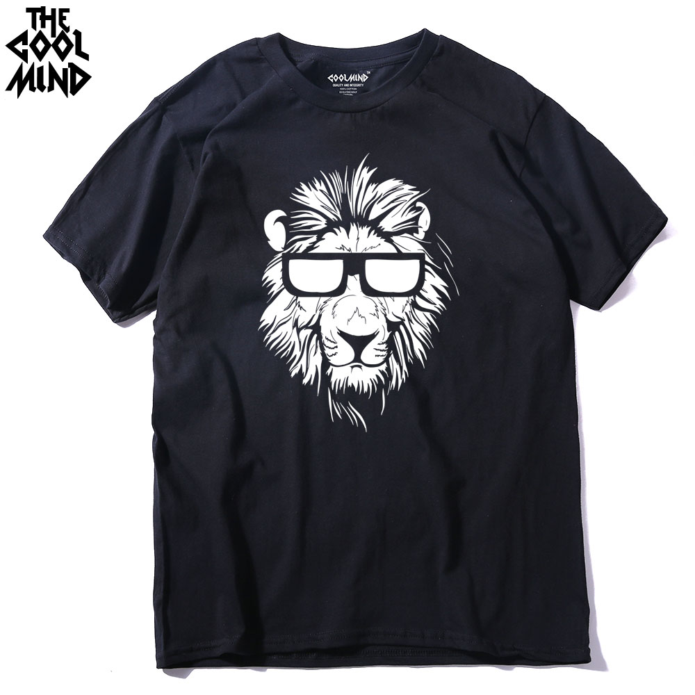 COOLMIND LI0211 cotton short sleeve animal lion printed men   T     shirt   casual o-neck knitted mens   T  -  shirt   men's tops tee   shirts