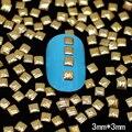 Varejo 100 pçs/saco GNS20 Ouro Studs Nail Art Decoração Caso 3mm Linhas de Grãos de Metal Quadrado DIY Nail Ferramenta Livre grátis