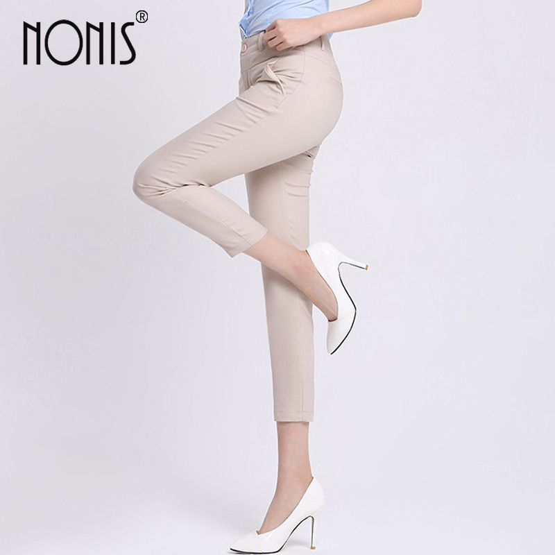 Nonis Spring 2017 high waist Multi-color pencil pants for women office OL style work wear skinny pants female vintage trousers