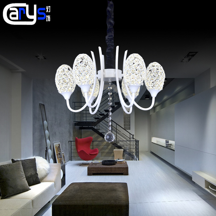 Ou the white LED crystal chandelier Bedroom restaurant cafe bars K9 crystal droplight sitting room lighting|Pendant Lights| |  - title=