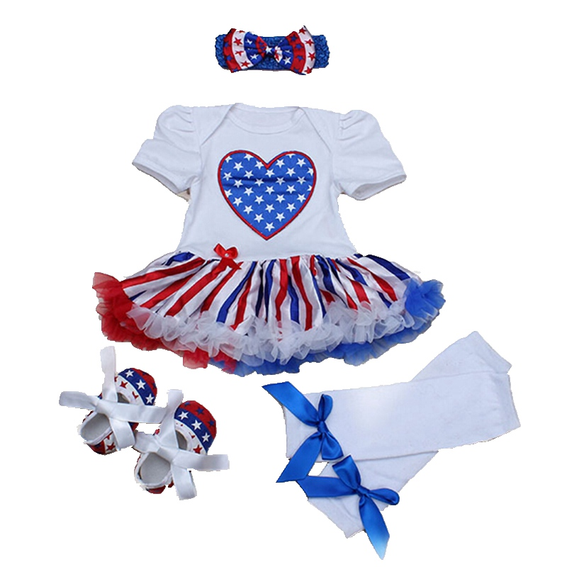 Love America 4th Of July Outfits Leg Warmers Crib Shoes Lace Romper Dress Headband Baby Girl Summer Clothing Sets Kids Clothes