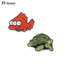 The Simpsons Pins Brooches Fish Turtle Badge Brooch for Women Men Kids Lapel Pin Cartoon Jewelry