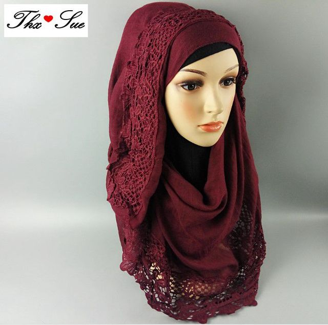 ba8e800d63403 Free shipping Lace Cotton Viscose Printing Scarf Muslim Hijab Muffler Head  Wrap Quality Scarves Wholesale Retail Hot